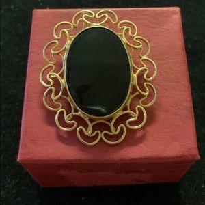 Vintage Burt Cassell Onyx Brooch Gold Filled